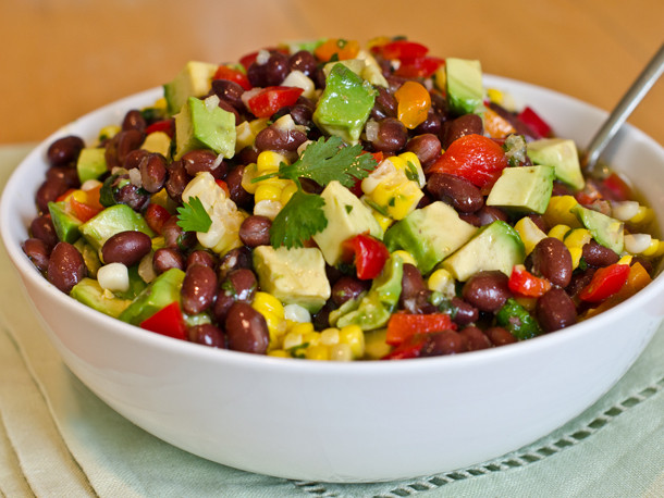 Corn And Black Bean Salad  Black Bean Corn and Red Pepper Salad with Lime Cilantro