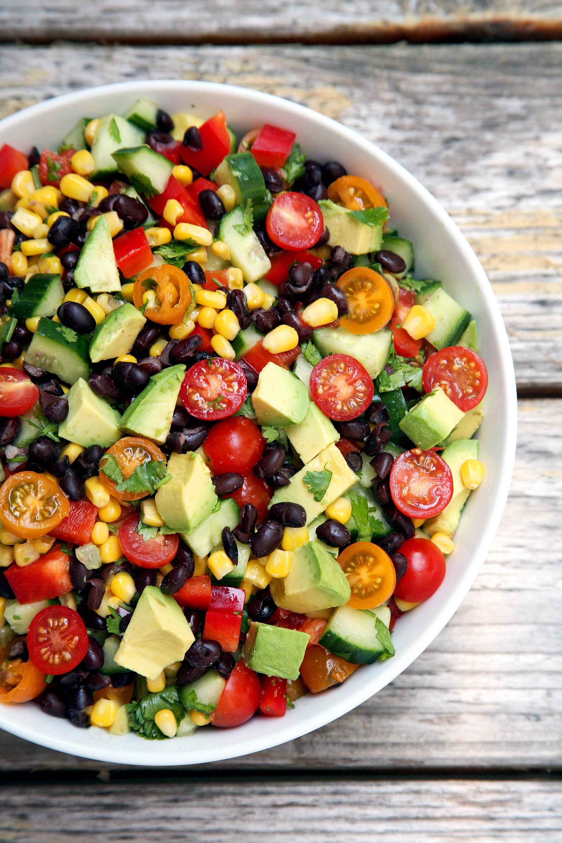 Corn And Black Bean Salad  Cucumber Black Bean Corn Tomato and Avocado Salad