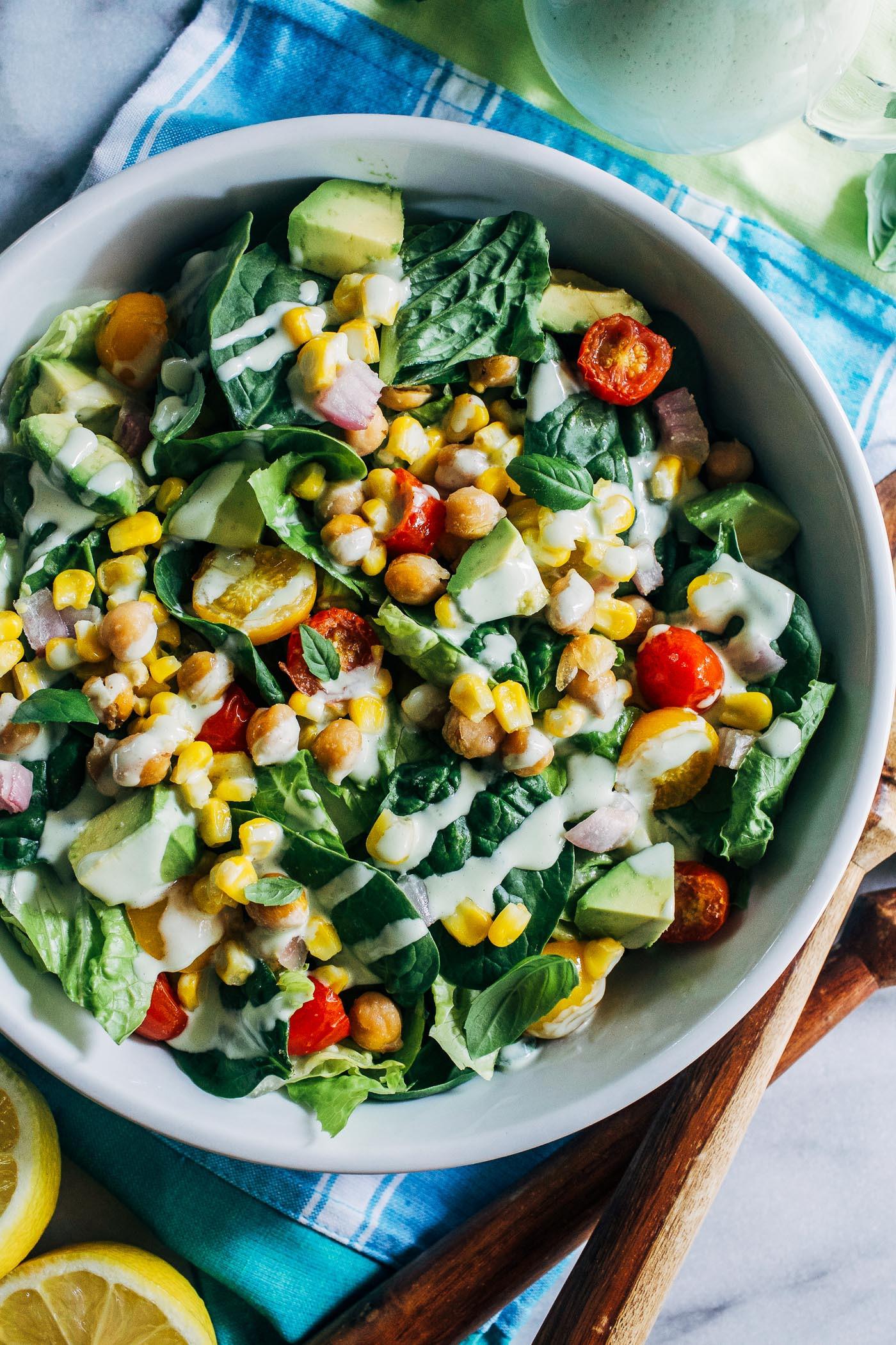 Corn And Tomato Salad  Roasted Corn Tomato Summer Salad with Lemon Basil Yogurt