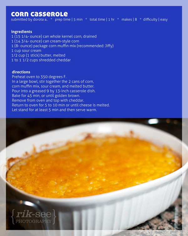 Corn Casserole Jiffy  Corn Casserole with Jiffy Mix Recipes Pinterest
