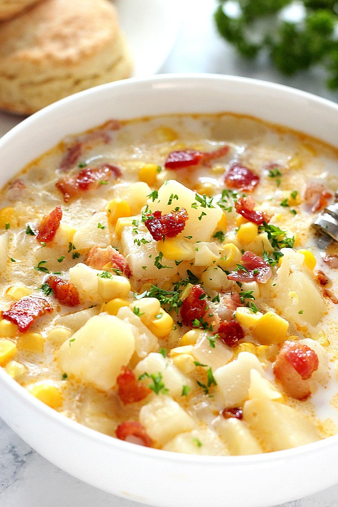 Corn Chowder Soup Recipe  Instant Pot Corn Chowder with Bacon Recipe Crunchy