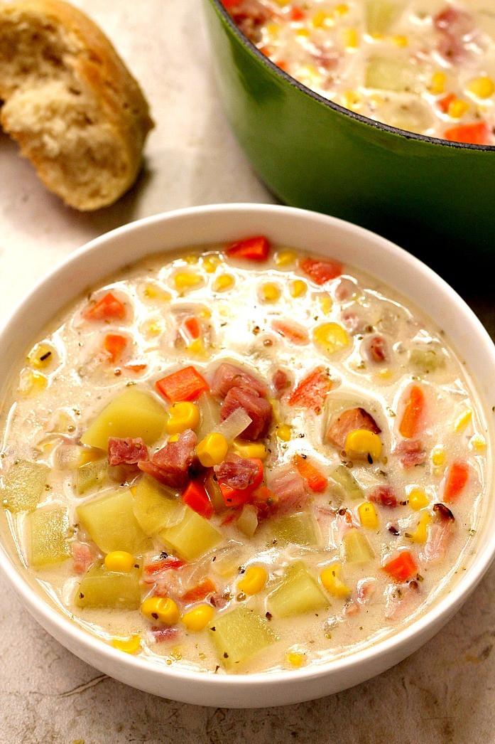 Corn Chowder Soup Recipe  Ham Potato and Corn Chowder Recipe Crunchy Creamy Sweet