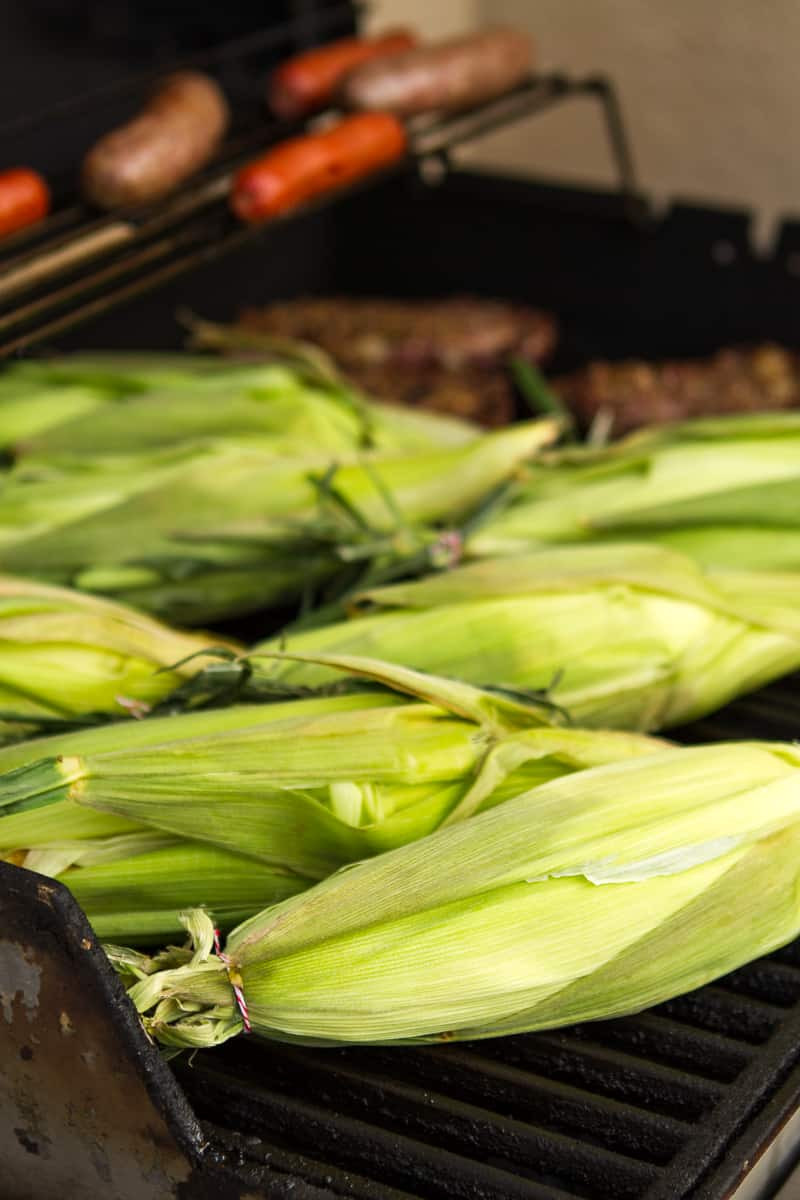 Corn In Husk On Grill  Spicy Horseradish Grilled Corn The Cob