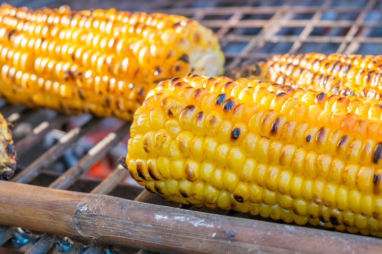 Corn On Cob On Grill  Grilled Corn on the Cob with Basil Olive Oil and Sea Salt