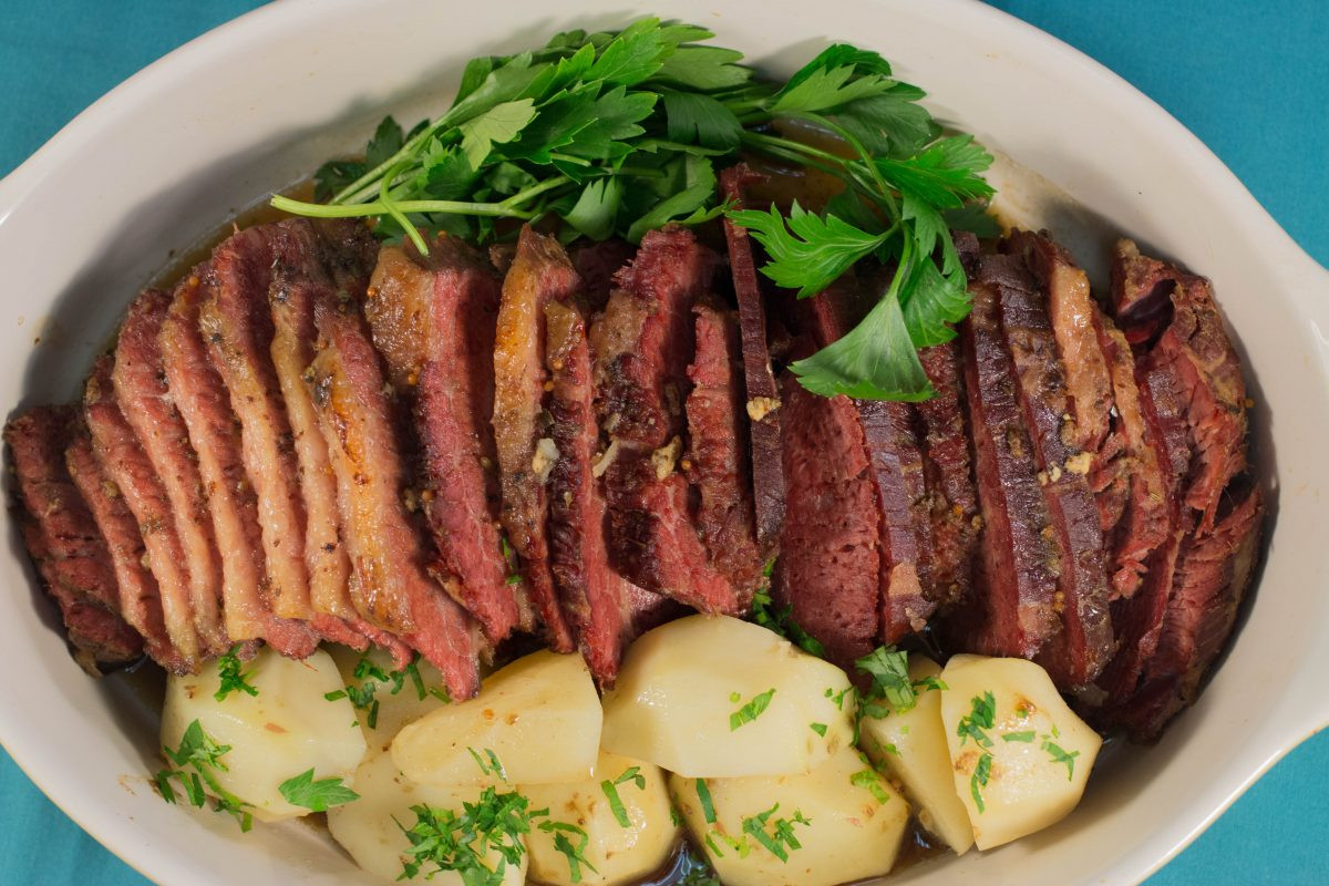 Corned Beef Brisket Slow Cooker  slow cooker corned beef brisket with guinness