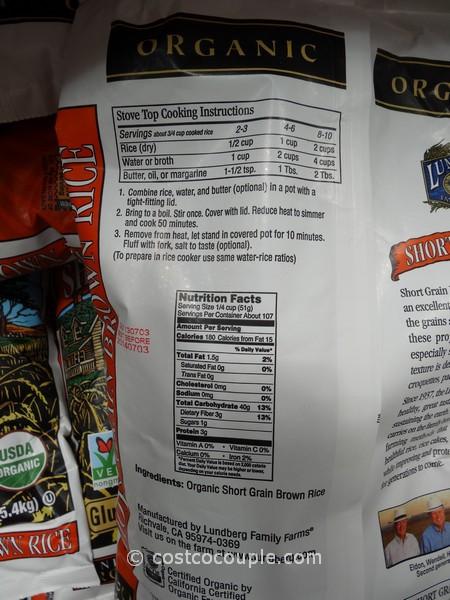 Costco Brown Rice  Lundberg Farms Organic Short Grain Brown Rice