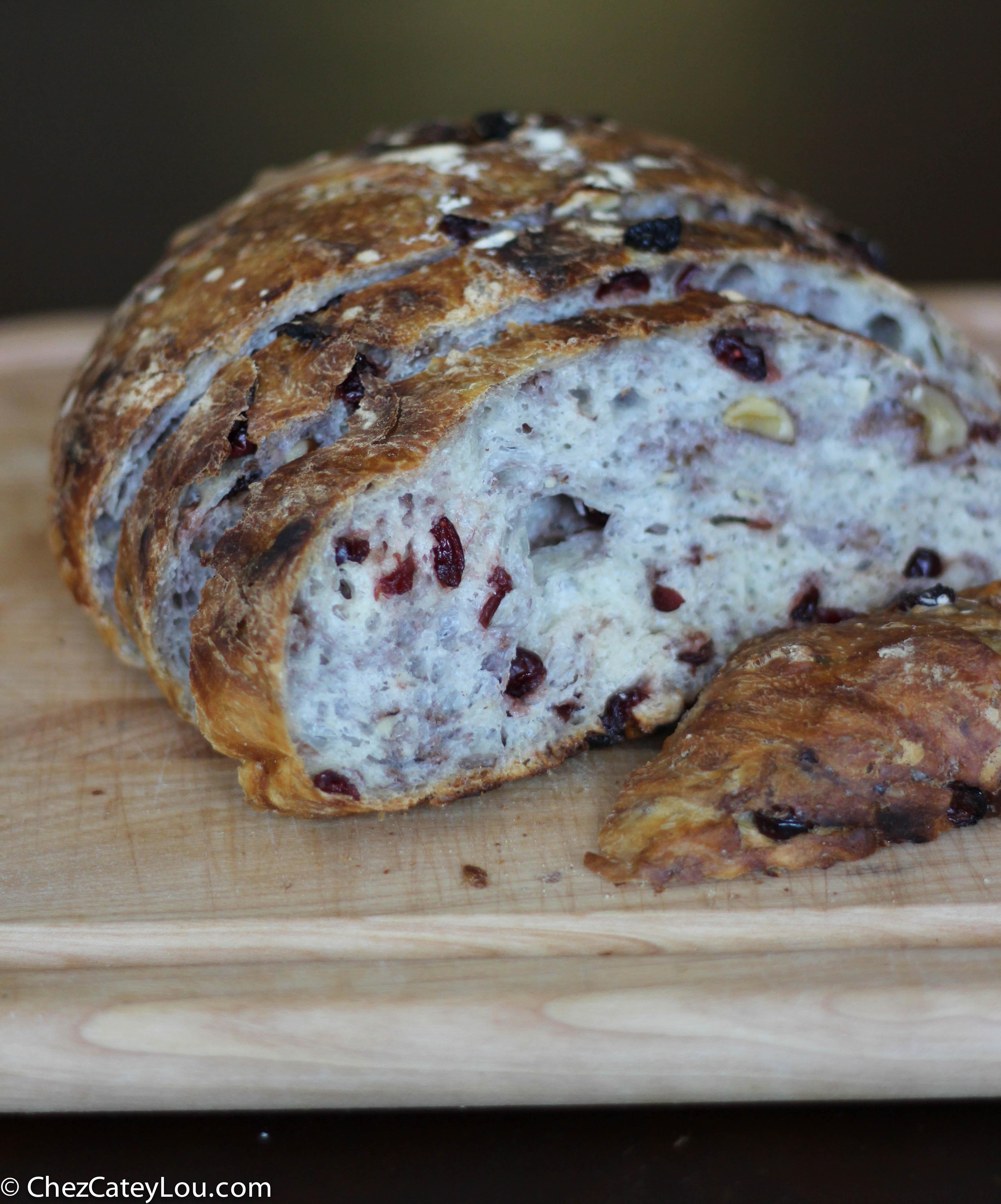 Cranberry Walnut Bread  No Knead Cranberry Walnut Bread Chez CateyLou