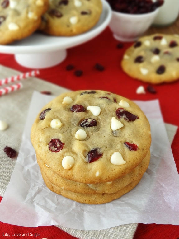 Cranberry White Chocolate Chip Cookies  Cranberry White Chocolate Chip Cookies Life Love and Sugar