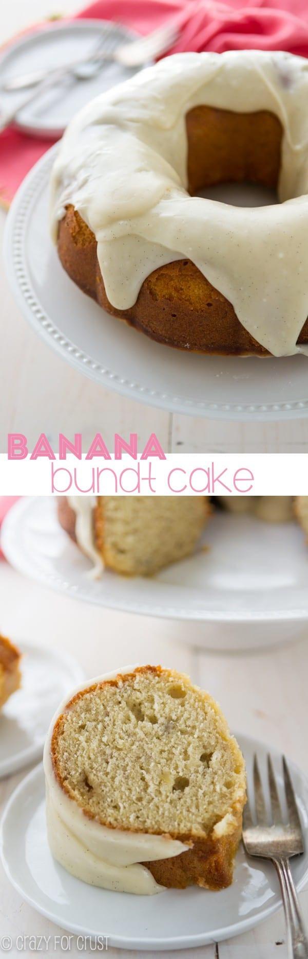 Crazy Banana Cake  Banana Bundt Cake with cream cheese frosting Crazy for