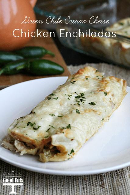 Cream Cheese Chicken Enchiladas  Green Chili Cream Cheese Chicken Enchiladas