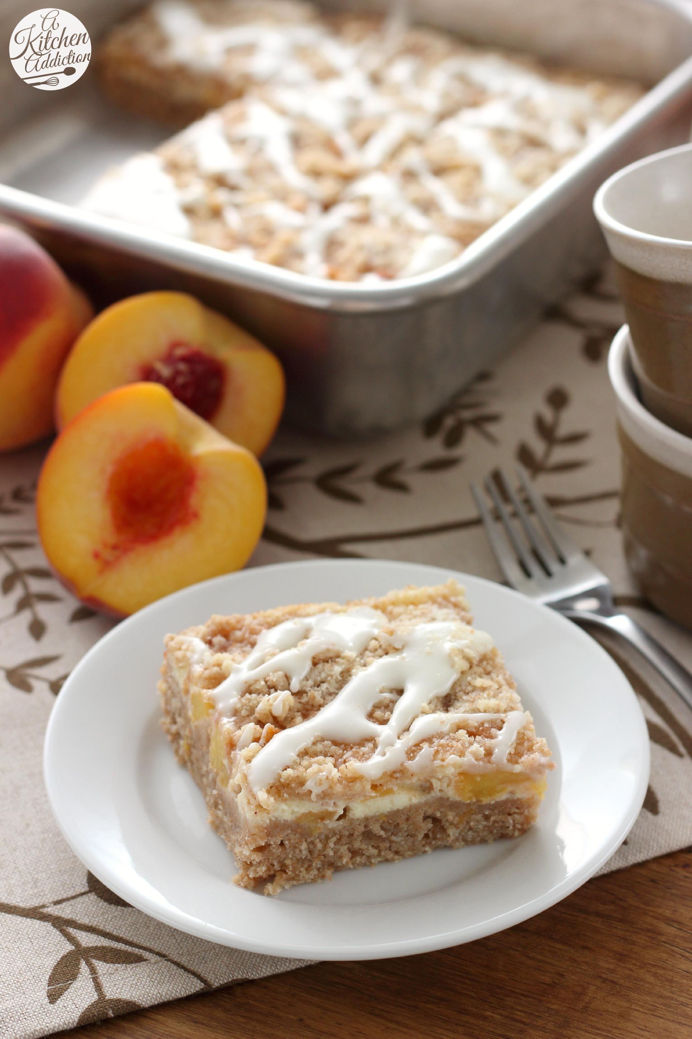 Cream Cheese Coffee Cake  Peaches and Cream Cheese Coffee Cake A Kitchen Addiction