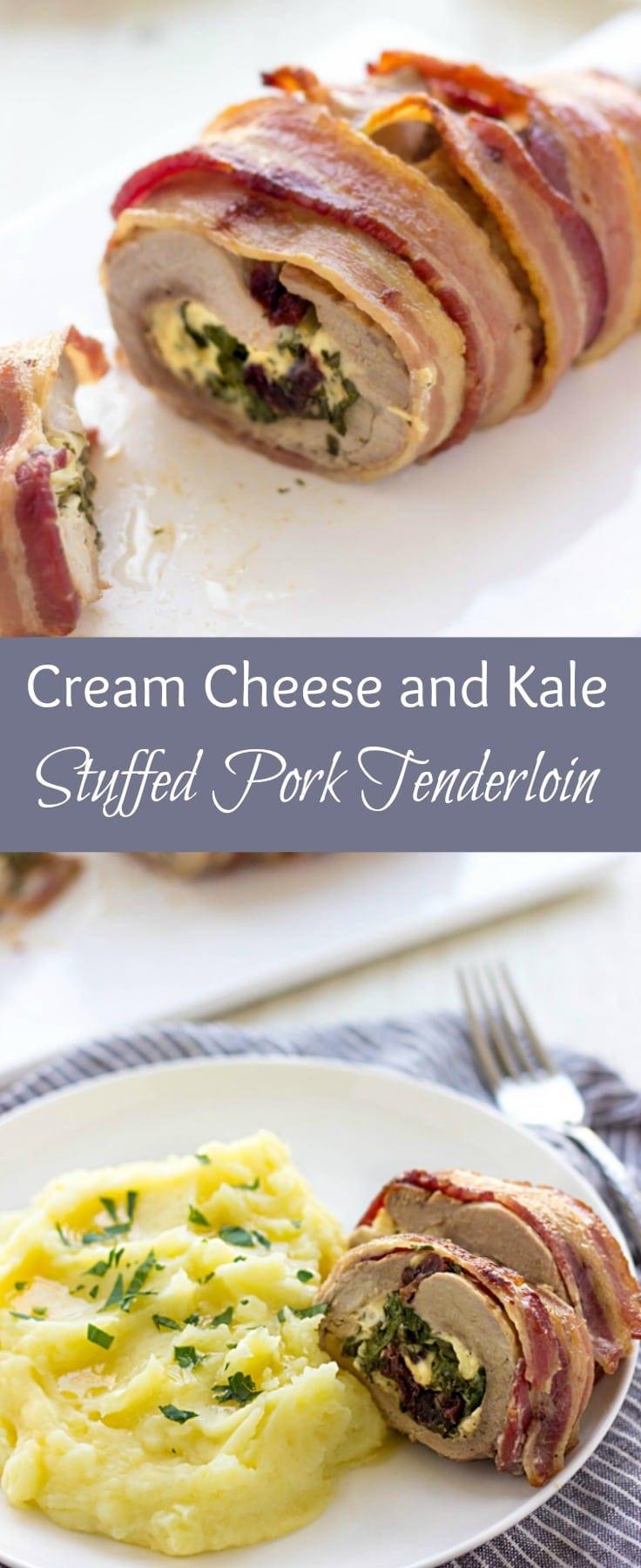 Cream Cheese Stuffed Pork Tenderloin  Cream Cheese And Kale Stuffed Baked Pork Tenderloin