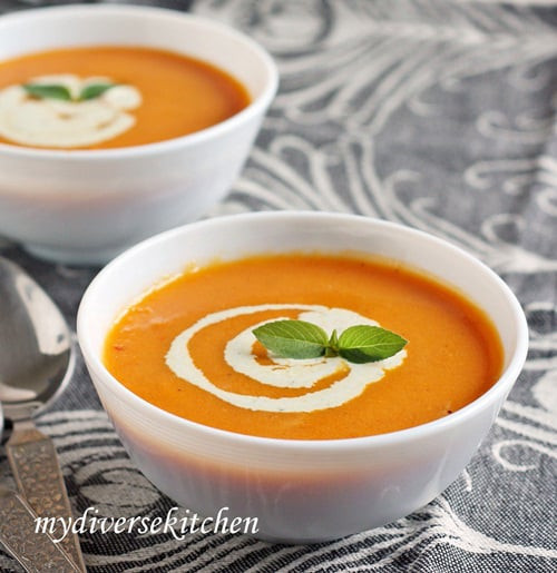 Cream Of Carrot Soup  Roasted Tomato And Carrot Soup With Basil Cream GF