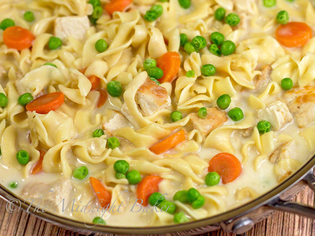 Creamy Chicken And Noodles  Creamy Chicken with Noodles The Midnight Baker