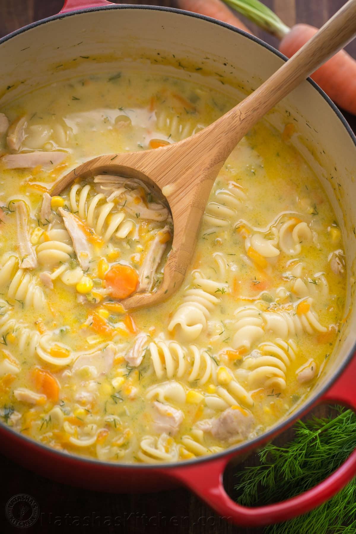 Creamy Chicken Soup Recipe  Creamy Chicken Noodle Soup Recipe NatashasKitchen