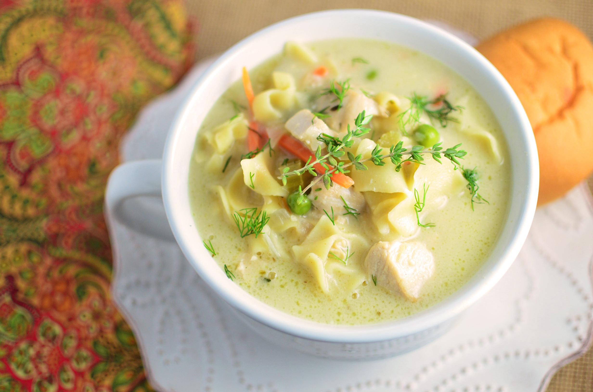 Creamy Chicken Soup Recipe  Creamy Chicken Noodle Soup Simple Sweet & Savory