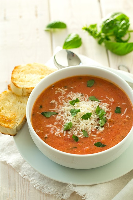 Creamy Tomato Basil Soup  Creamy Tomato Basil Soup with Roasted Garlic & Asiago Cheese