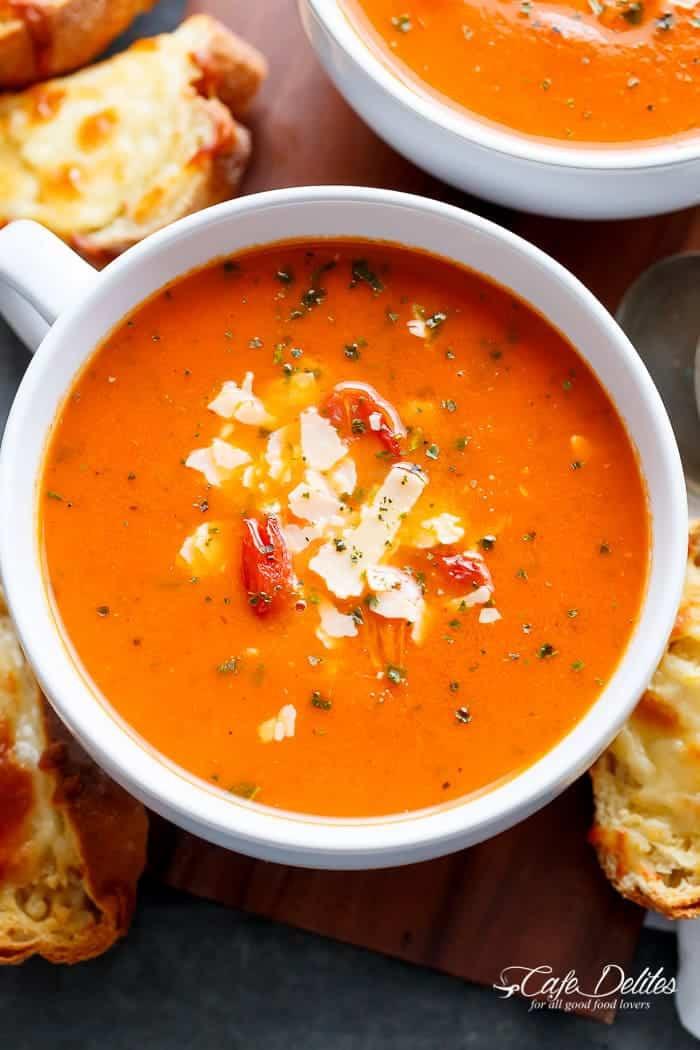 Creamy Tomato Basil Soup  Creamy Roasted Tomato Basil Soup No Cream Cafe Delites