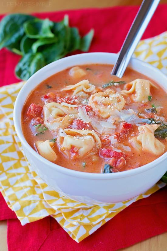 Creamy Tomato Tortellini Soup  Creamy Tortellini and Spinach Tomato Soup Life Made Simple