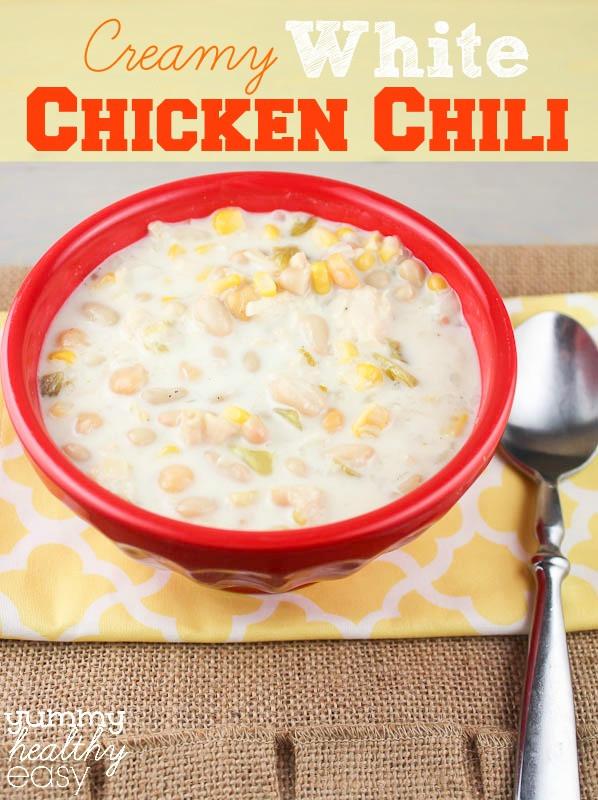 Creamy White Chicken Chili  Creamy White Chicken Chili Yummy Healthy Easy