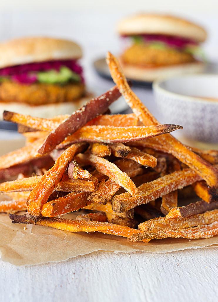 Crispy Baked Sweet Potato Fries  Crispy Oven Baked Sweet Potato Fries Sprinkle of Green