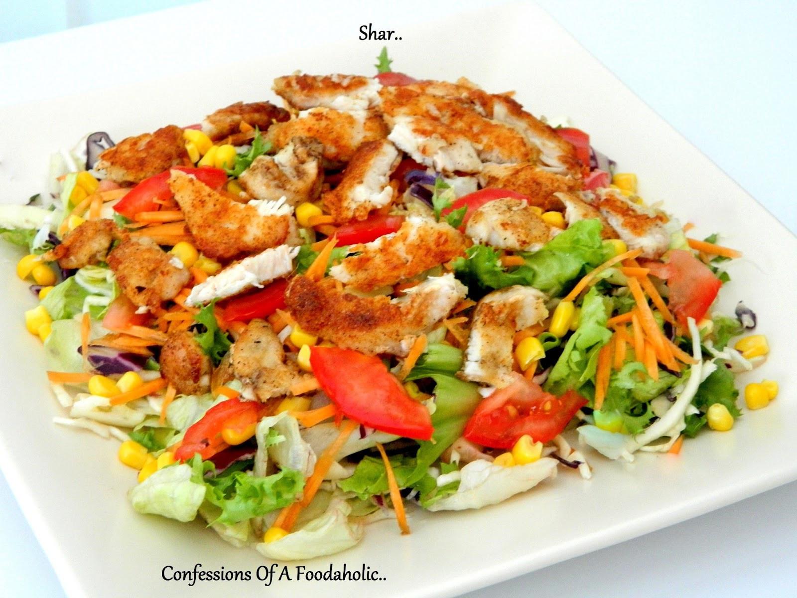 Crispy Chicken Salad  Confessions A Foodaholic Crispy chicken over bed of