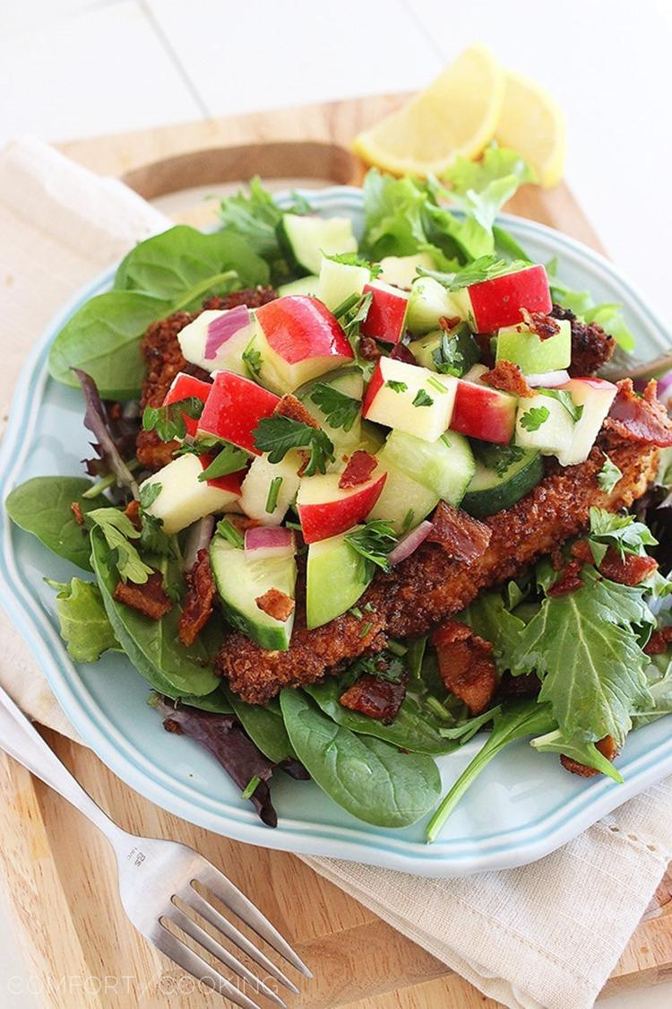 Crispy Chicken Salad  Crispy Chicken Salad with Apples and Bacon