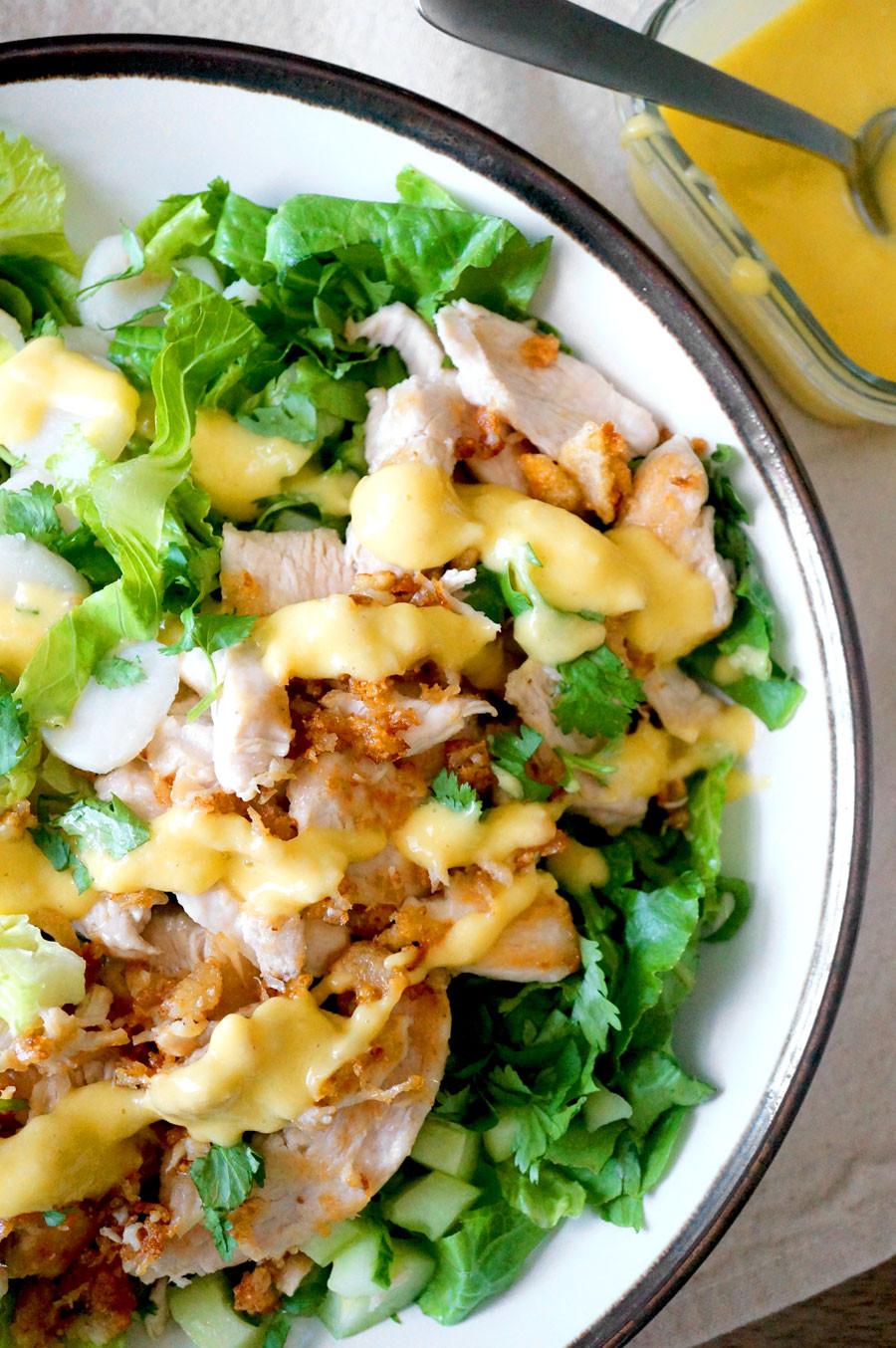 Crispy Chicken Salad  Crispy Chicken Salad with Creamy Mango Dressing Grazed