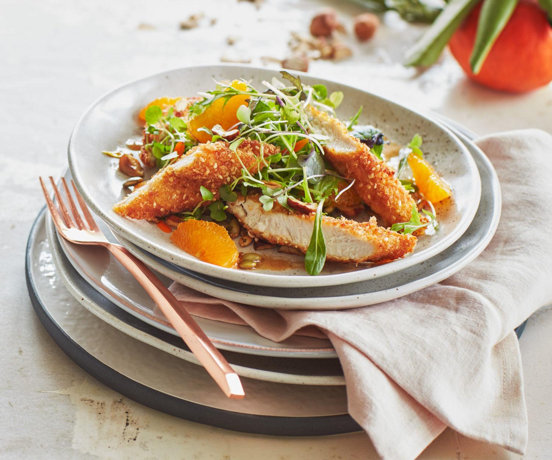 Crispy Chicken Salad  Crispy chicken salad with tangelo and roasted hazelnuts