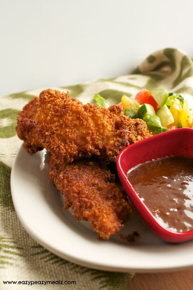 Crispy Fried Chicken Tenders  Fried Chicken Tenders with Spicy Asian BBQ Dipping Sauce