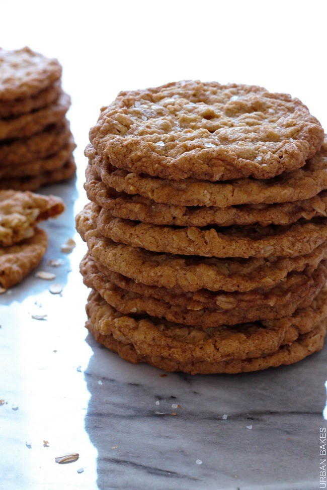 Crispy Oatmeal Cookies  URBAN BAKES Salty Thin and Crispy Oatmeal Cookies