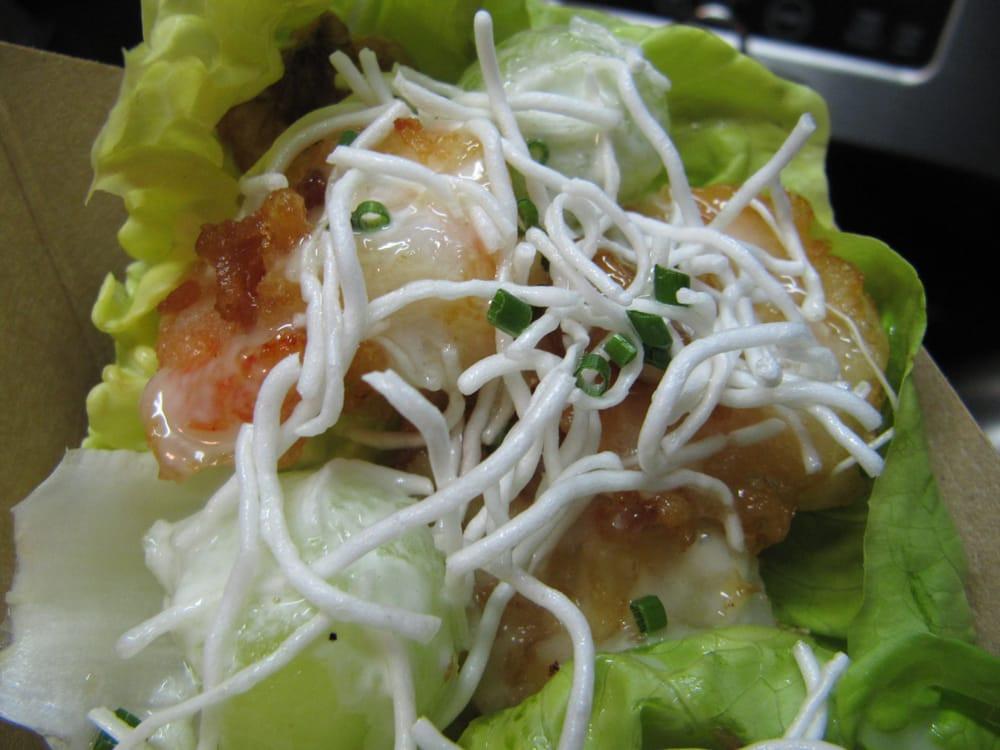 Crispy Rice Noodles  walnut shrimp tacos honeydew can d walnuts crispy
