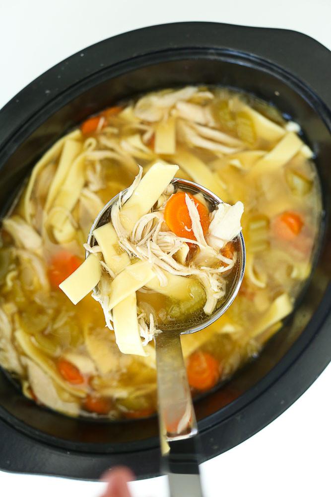 Crock Pot Chicken Soup  Crock Pot Chicken Noodle Soup Recipe Happy Healthy Mama