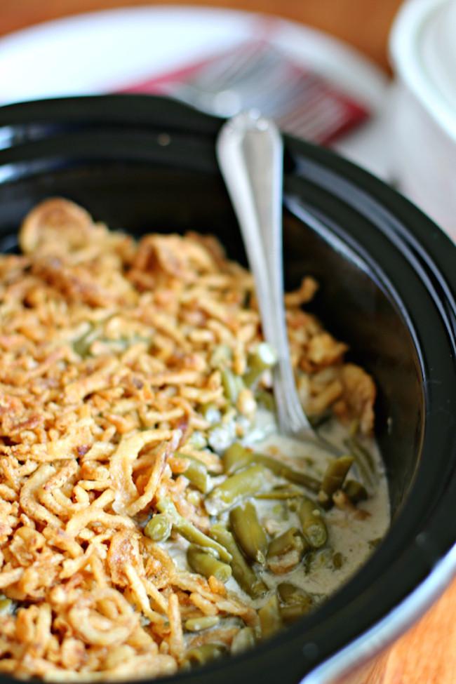 Crock Pot Green Bean Casserole  20 Crock Pot Thanksgiving Recipes Lydi Out Loud
