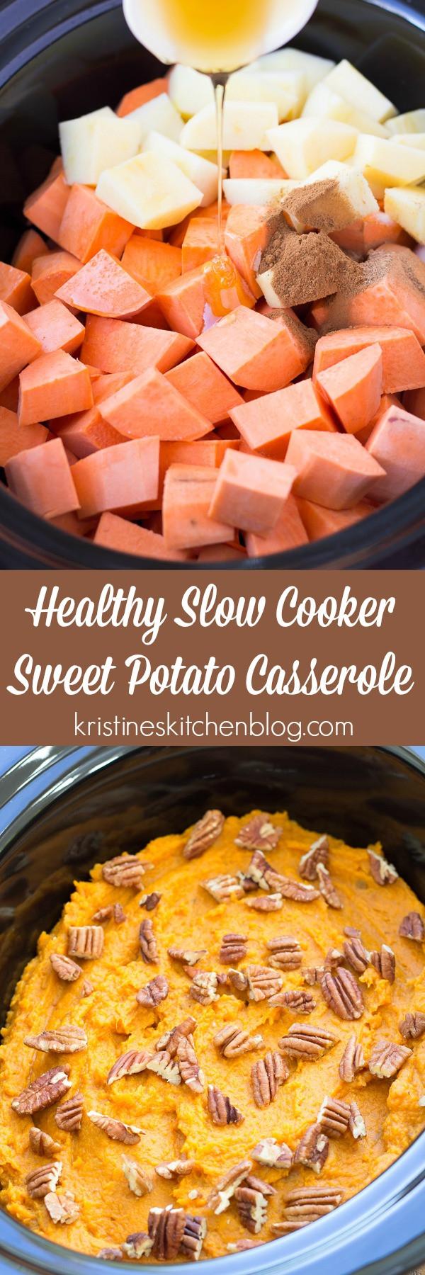 Crock Pot Sweet Potato Casserole  Healthy Slow Cooker Sweet Potato Casserole Kristine s
