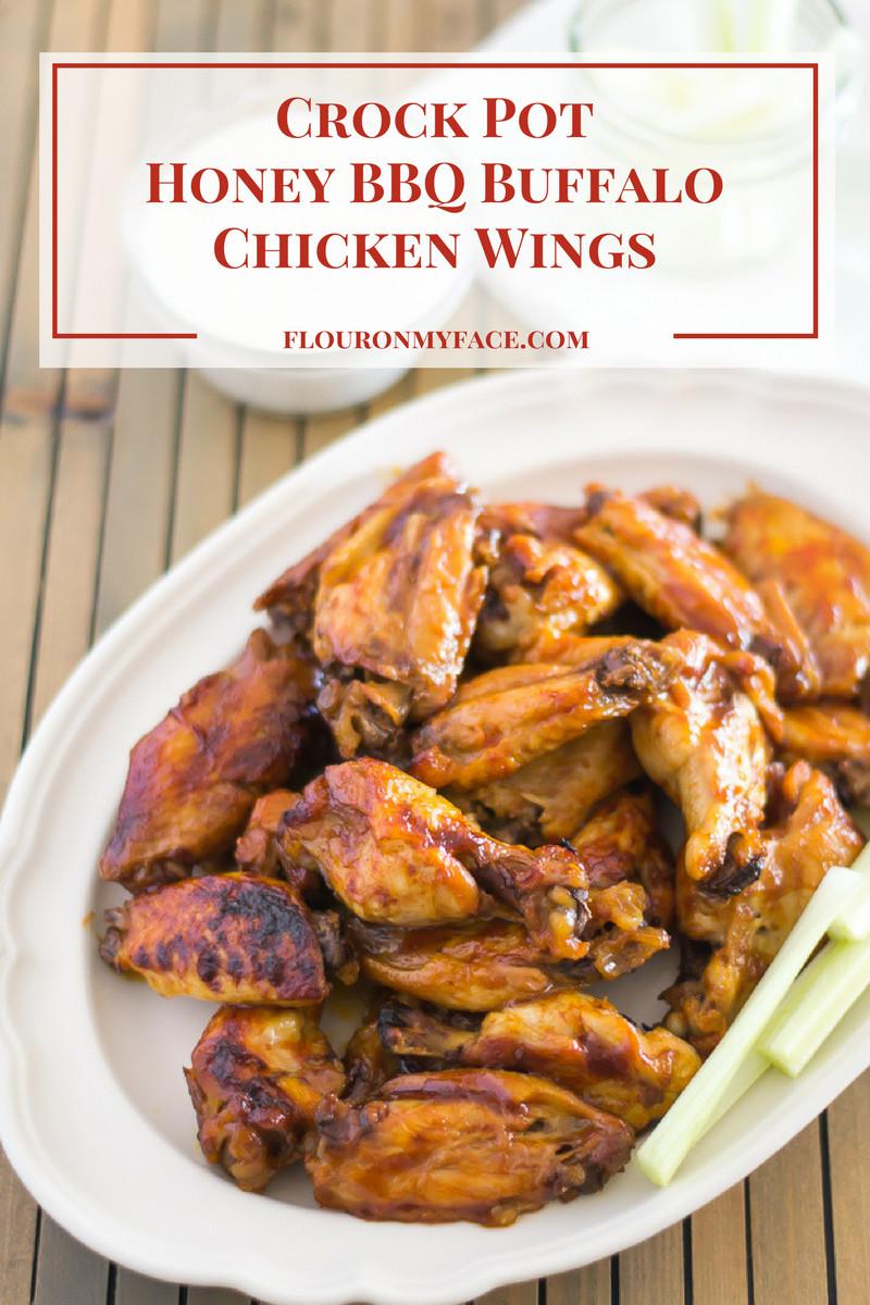 Crockpot Bbq Chicken Wings  Crock Pot Honey BBQ Buffalo Chicken Wings Flour My Face