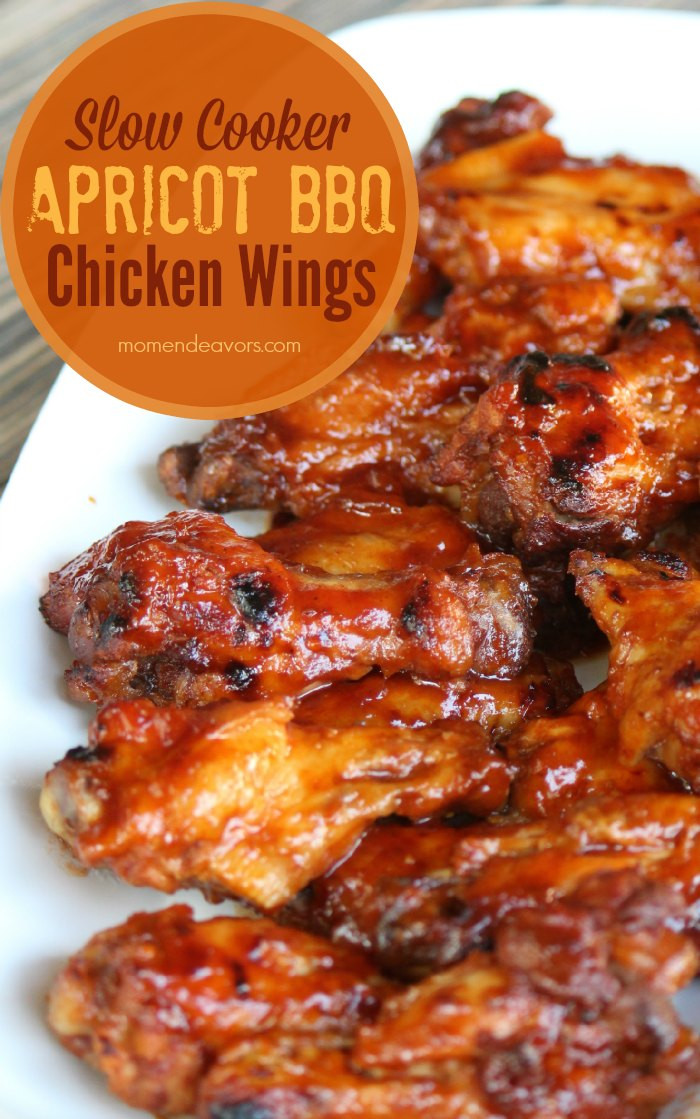Crockpot Bbq Chicken Wings  Slow Cooker Apricot BBQ Chicken Wings Tailgating Recipes
