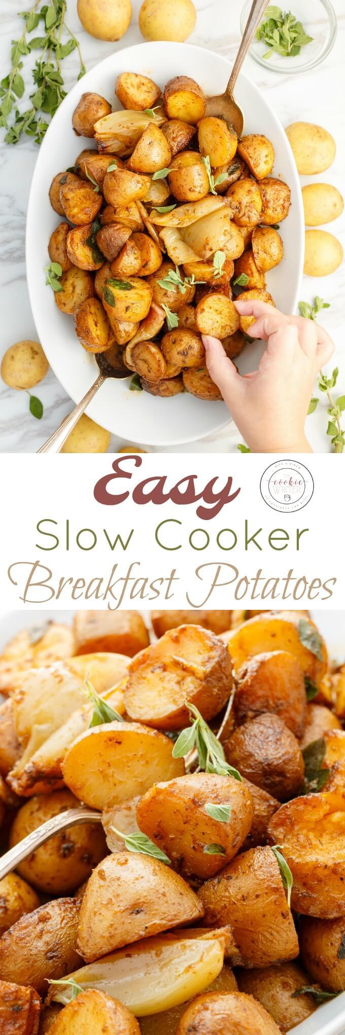 Crockpot Breakfast Potatoes  Easy Slow Cooker Breakfast Potatoes The Cookie Writer