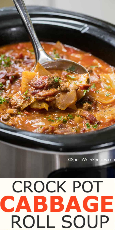 Crockpot Cabbage Roll Soup  Golumpki Recipe Slow Cooker