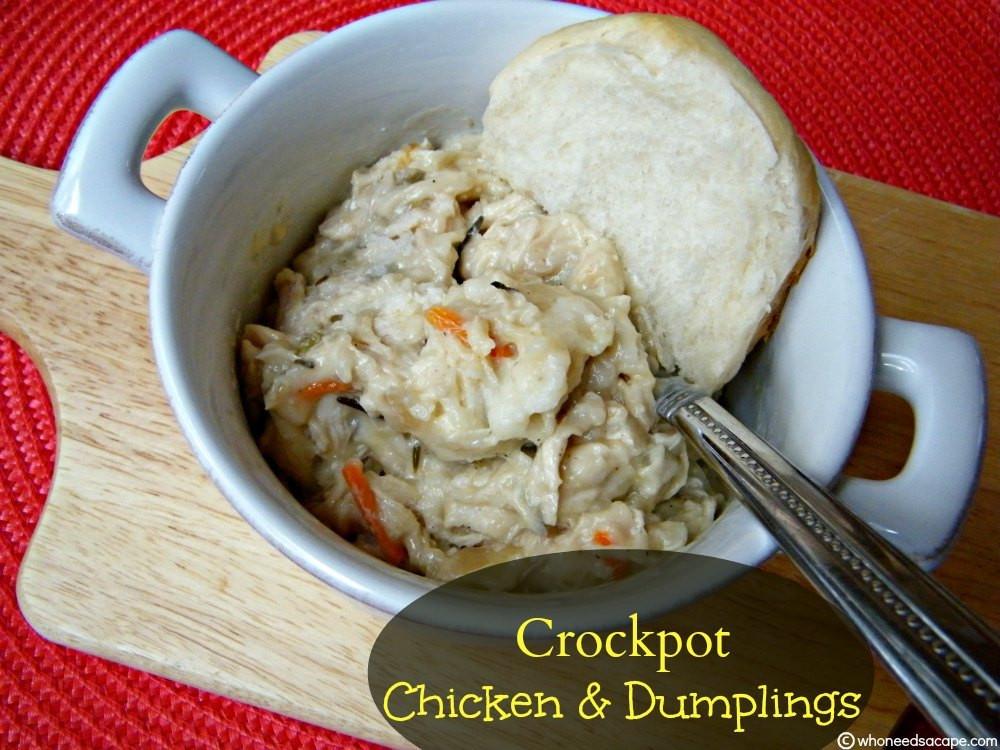 Crockpot Chicken And Dumplings With Grands Biscuits  Crockpot Chicken & Dumplings Who Needs A Cape