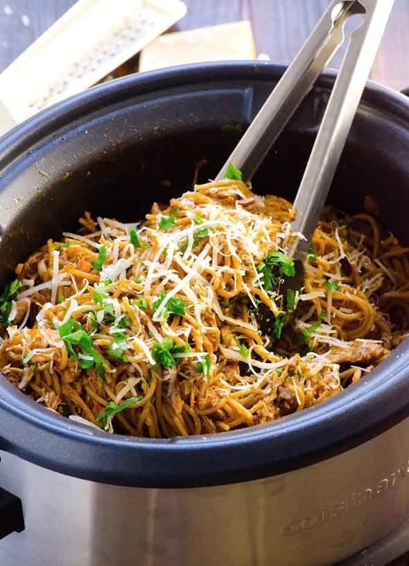 Crockpot Chicken Spaghetti  slow cooker chicken spaghetti sauce