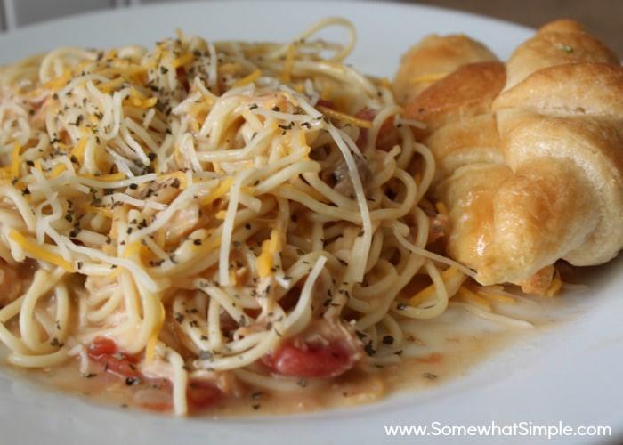 Crockpot Chicken Spaghetti  Crock Pot Cheesy Chicken Spaghetti Somewhat Simple