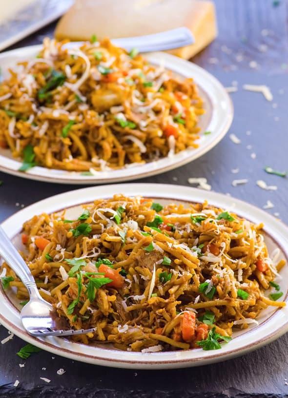Crockpot Chicken Spaghetti  Crockpot Chicken Spaghetti iFOODreal Healthy Family