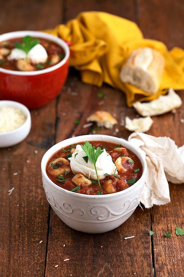 Crockpot Lasagna Soup  Slow Cooker Lasagna Tortellini Soup