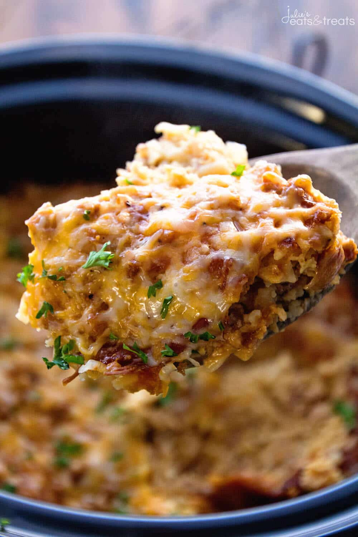 Crockpot Recipes Breakfast  Crockpot Breakfast Casserole With Turkey Julie s Eats