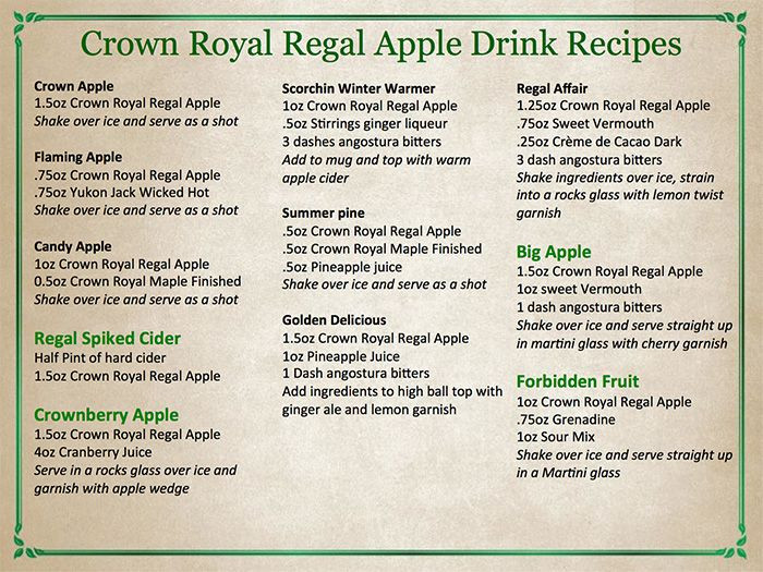 Crown Apple Drinks Recipes  Wirtz Beverage Illinois Introducing The New Crown Royal