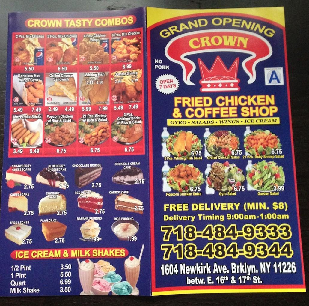 Crown Fried Chicken Menu  Crown Fried Chicken & Coffee Shop Now Open