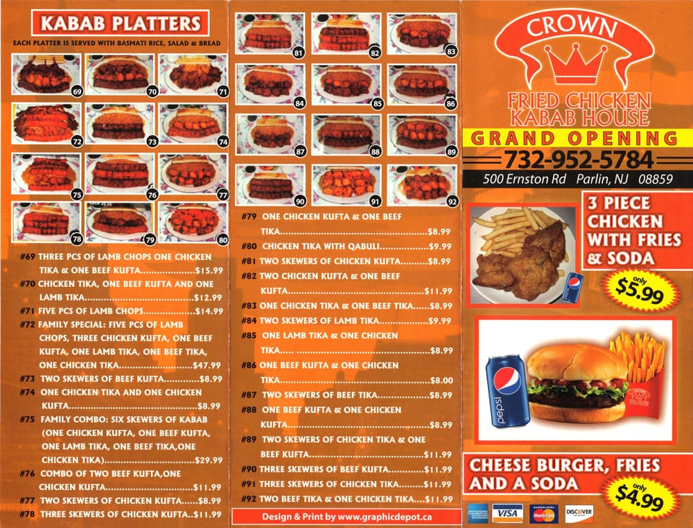 Crown Fried Chicken Menu  Crown Fried Chicken Chicken Wings Parlin NJ Reviews