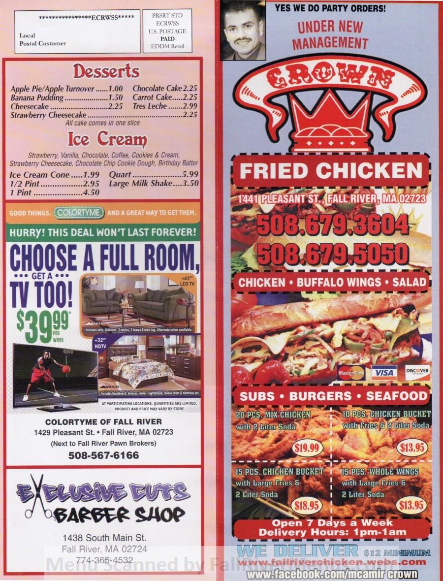 Crown Fried Chicken Menu  closed Crown Fried Chicken Fall River Restaurants