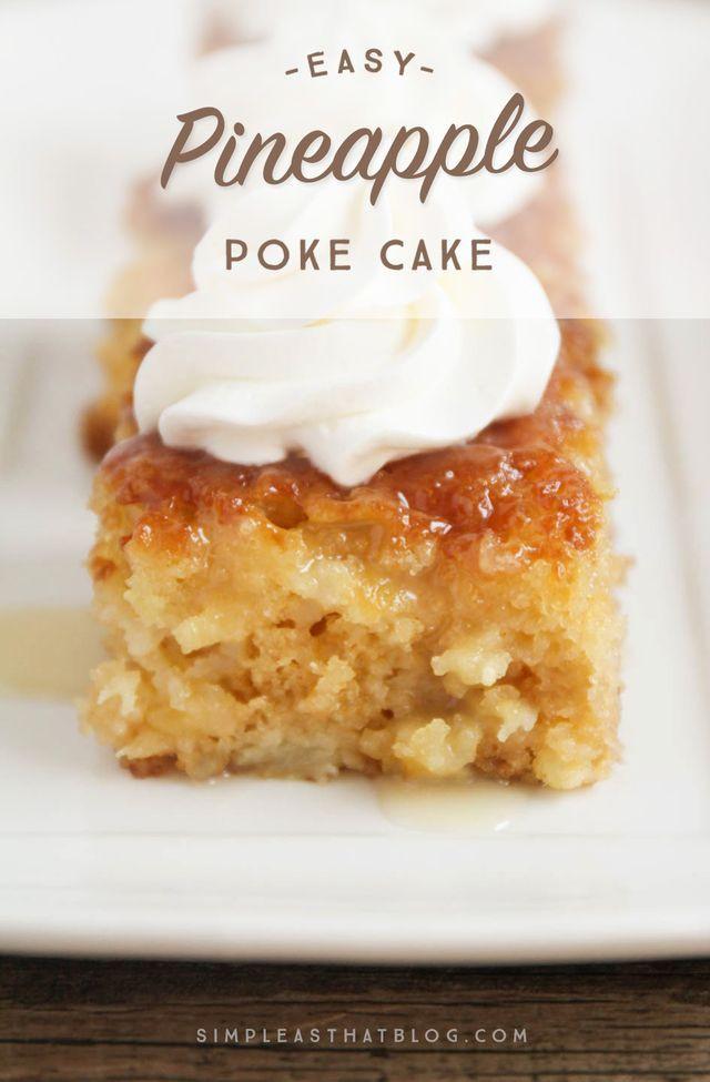 Crushed Pineapple Upside Down Cake  Easy Pineapple Poke Cake Recipe Cakes